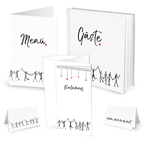Tischdeko-SET HERZMENSCH: 10 Menükarten, 25 Tischkarten, 10 Einladungskarten 1 Hochzeitsgästebuch in schwarz weiß rot mit Herzen; Tisch-Dekoration zur Hochzeit, zum Geburtstag, zur Kommunion, etc.