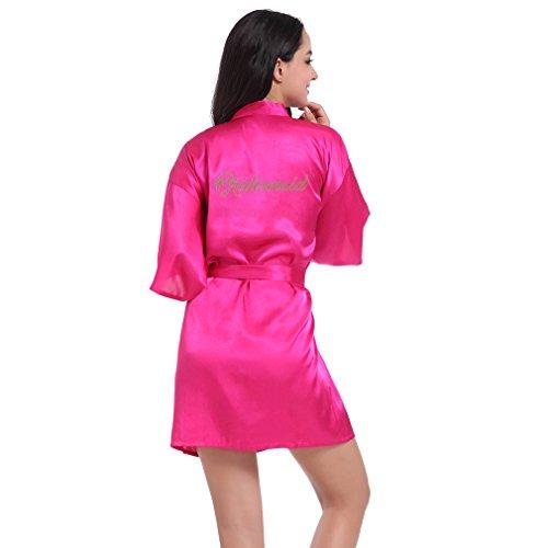 BOYANN Damas de Honor Ropa de Dormir Erótica para Mujer Sexy Batas y Kimonos de Satén, Rosa Roja S