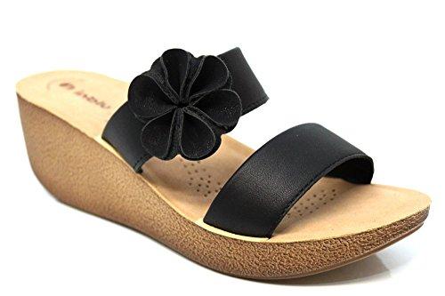 INBLU pour femme MID Wedge bout ouvert Sandales d'été à Bretelles Taille 2–8 Noir - noir
