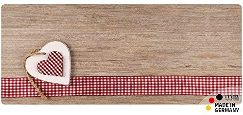 matches21 Küchenläufer Teppichläufer Teppich Läufer Landhaus Herzen auf Holz 50x120x0,4 cm maschinenwaschbar Rutschfest Küchenvorleger - Läufer Teppich Holz