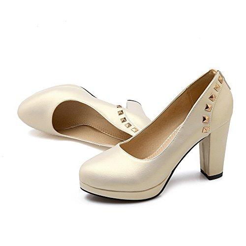 VogueZone009 Femme Tire Rond à Talon Haut Pu Cuir Mosaïque Chaussures Légeres Doré