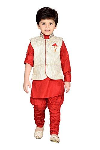 AJ Dezines Kids Kurta Pyjama Waistcoat Set for Boys (637_RED_5)