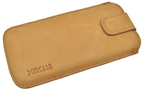 Suncase Echtleder Tasche iPhone 6 / iPhone 6s (4.7 Zoll) Etui mit *Push Out Funktion* coffee Camel