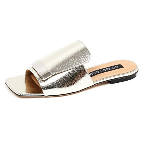 SERGIO ROSSI F0958 Sandalo Donna Silver Scarpe Cracked Effect Shoe Woman [39]