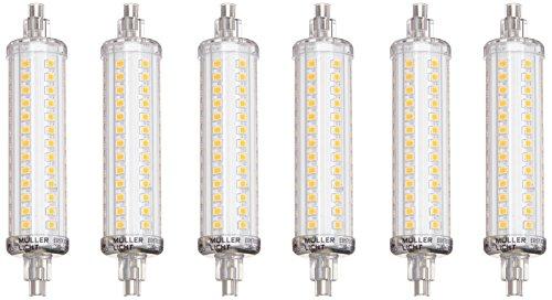 MÜLLER-LICHT 6er-Set LED Lampe Ersatz für Halogenstab, 1100 Lm, 2700 K, Plastik, R7s, 9.5 W, Weiß, 2.5 x 2.5 x 11.8 cm, 6 Einheiten