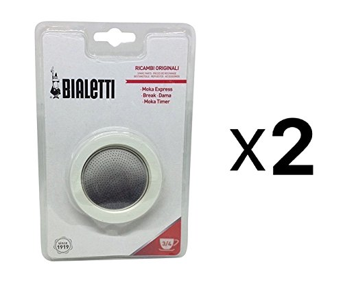 Bialetti Gasket & Filter Replacement - Fits 3 Cup Moka Espresso Machine, 2-Pack