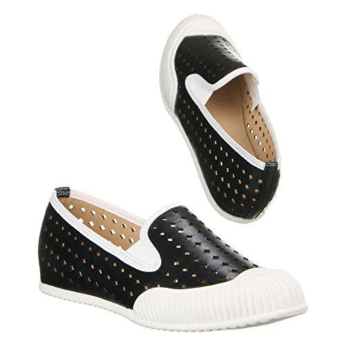 Damen Schuhe, C1128, HALBSCHUHE Schwarz