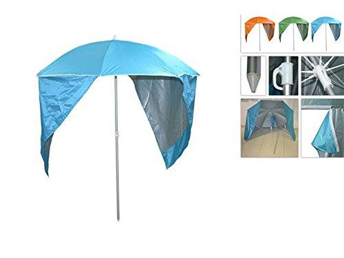 Vetrineinrete® ombrellone da spiaggia con parasole tenda incorporata per una maggiore protezione zone d'ombra protegge dal sole e dai raggi uv per mare piscina giardino con sacca 185 x 160 cm p50