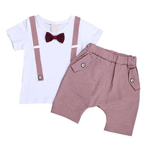 Party Jungs-outfit (Freebily Baby Jungen Sommer Bekleidungsset Set Kurzarm T-Shirt + Shorts Anzug festlich Smoking Outfits 68 74 80 86 92 98 Puce & Weiß 68-74 / 6-9 Monate)