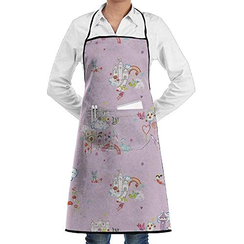 SDGSS with Pocket Apron,Unicorn Castle Bib Apron with Pockets for Women and Men