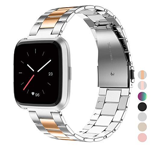 Wearlizer für Fitbit Versa Armband, Edelstahl Ersatzband Armbänder für Fitbit Versa Special Edition Klein Groß - Silber + Kupfer (Band Fitbit Xl)