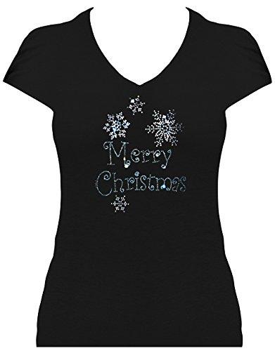 Fun Shirt Weihnachten Damen Merry Christmas blau mit Schneeflocken Strass Schwarz