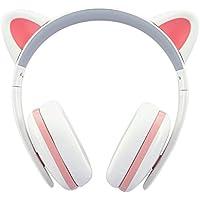 BC Master Auriculares con orejas de gato y Cable 3.5mm Audio Plug Compatible para Smartphone, PC, Laptop, iPod, MP3 etc - Blanco