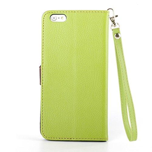Etche Flip Tasche mit Magnetverschluss, Kartenfächer und Standfunktion für iPhone 6 Plus / 6S Plus - grün grün