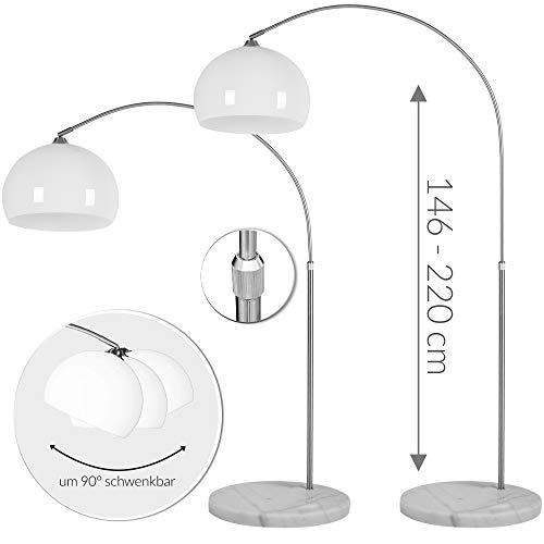 Deuba Design Bogenlampe mit standfestem Marmorfuß höhenverstellbar 146-220cm weiß - Fußschalter - Stehlampe Stehleuchte Bogenleuchte Bogenstandleuchte Standleuchte -