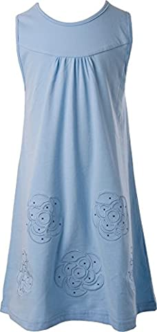 Ipuang Big Girls' Flower Dress Casual Embroidered Light Blue 7