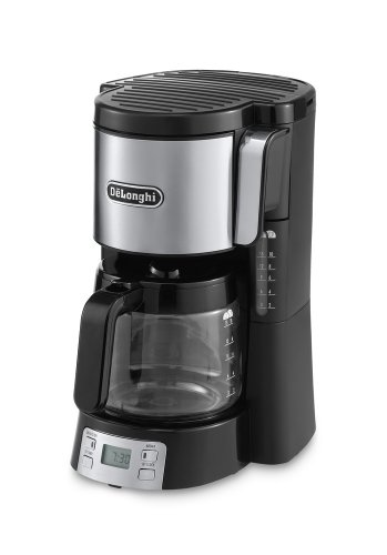 DeLonghi Front Loading Filter Coffee Maker 10-15 Cup Capacity Digital with Timer ICM15250, 1.3 L, 1000 W - Black