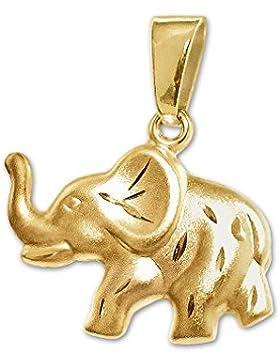 CLEVER SCHMUCK Goldener Anhänger Elefant 16 x 10 mm beidseitig plastisch und tragbar, eine Seite seidenmatt diamantiert...