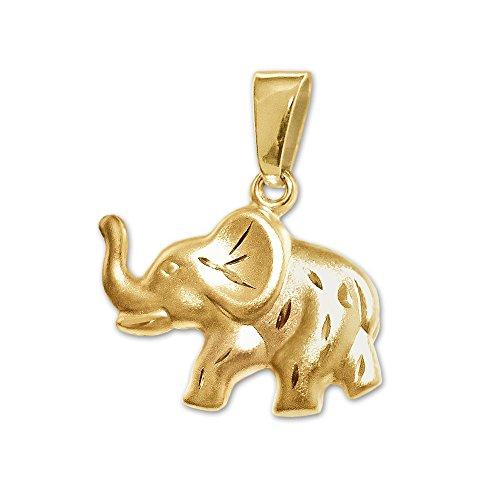 CLEVER joyas Dorado Colgante pequeño dulcito Elefant en un lado y brillante...