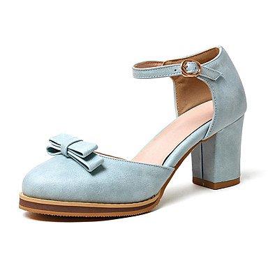 Sandali Primavera Estate Autunno scarpe Club sintetico PU Office & carriera parte & abito da sera Chunky Heel Bowknot Nero Blu Argento Rosa Blue