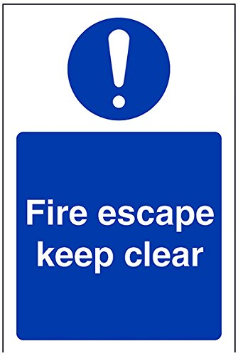 """Preisvergleich Produktbild vsafety 18038 ag-r Gebotszeichen,  """"Fire Escape Keep Clear"""",  starrer Kunststoff,  Hochformat,  100 mm x 150 mm,  blau"""