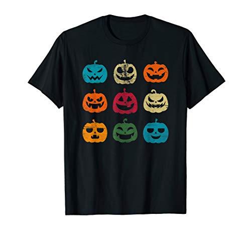 Lustiges Halloween Jack-O-Laterne Kürbis Gesichter T-Shirt