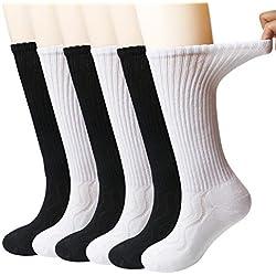 6 paires de chaussettes pour dames diabétiques non-contraignantes, chaussettes matelassées pour diabétiques en bambou évacuant la transpiration 3Black3White9-11