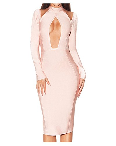 Whoinshop Frauen Langarm-High Neck Peek-A-Boo elegantes Party-Kleid Rosa