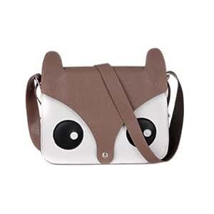 ISASSY Fashion Hot Retro Contrast Color Little Naughty Owl Fox Bag Messenger PU Leather Crossbody Purse Satchel Handbag Girl Lady Shoulder Bag (BROWN)