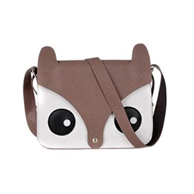 ISASSY Fashion Hot Retro Contrast Color Little Naughty Owl Fox Bag Messenger PU Leather Crossbody Purse Satchel Handbag Girl Lady Shoulder Bag (BROWN)
