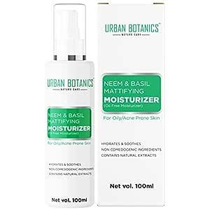 UrbanBotanics® Oil Free Moisturizer For Face - Mattifying Moisturiser Face Cream for Oily/Acne Prone/Normal Skin - with Neem & Basil Extract, Face Moisturizer For Women & men - 100ml