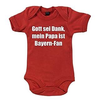 clothinx - Gott sei Dank, mein Papa ist Bayern-Fan - Babybody Rot, Größe 3/6 Monate