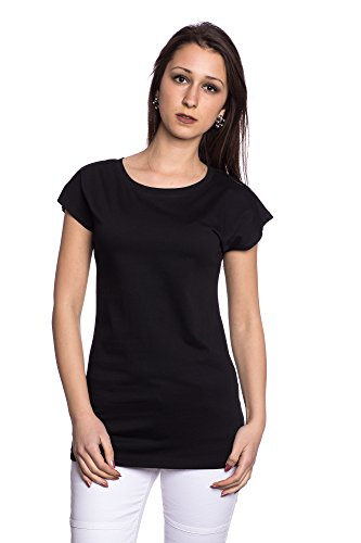 Abbino J110 T-Shirts Top Damen - Made in Italy - 6 Farben - Übergang Frühling Sommer Herbst Damenshirts Damentops DamenT-shirts Lässig Verkauf Sexy Freizeit Elegant Modern Baumwolle Stilvoll Schwarz