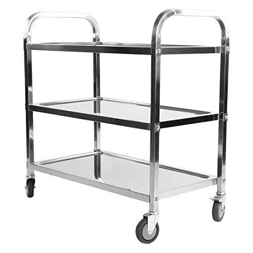 tcatec Edelstahl Servierwagen, Rollwagen mit Rollen, für Küche Garten Bar Hotel Restaurant- Silber (3 Etagen-L)