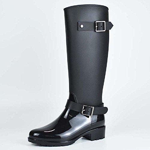 Mode Frauen oder Mädchen Regenstiefel Anti-Rutsch Wasserdicht Reitstiefel , black , 37 (Hunter Frauen Kurze Regen Stiefel)