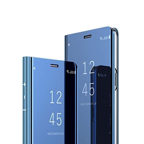 MRSTER Samsung M10 Hülle Clear View Standing Cover, Spiegel Handyhülle Schutzhülle Flip Case Schutz Tasche mit Standfunktion 360 Grad hülle für das Samsung Galaxy A10 / M10. Flip Mirror: Blue