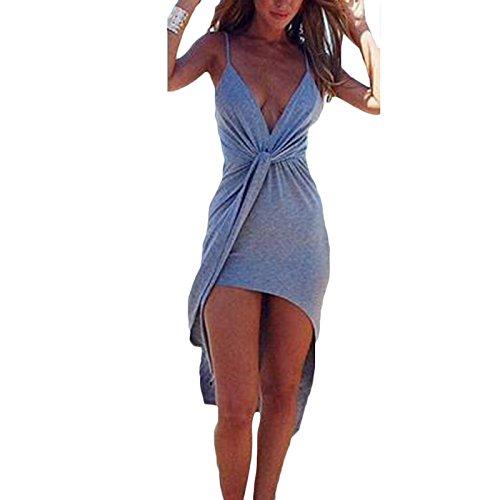 Damen Tiefe V-Ausschnitt Trägerlos Rückenfrei Asymmetrisch Sling Kink Bandage Rock Frauen-Club Beachwear Vorne Kurz Hinten Lang Strandkleider Grau