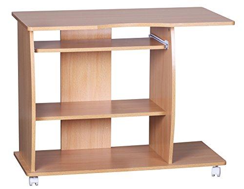 FineBuy Computertisch DAVID 90 x 50 x 66 cm Buche modern mit Tastaturauszug | PC-Tisch Holz platzsparend mit Rollen | Laptop-Tisch mit Drucker Ablage | Schreibtisch für kleine Räume
