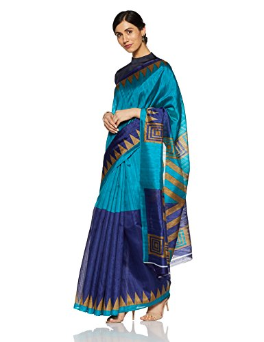OOMPH! Art Silk Saree With Blouse Piece (rbks_festival076_Cerulean Blue_Free Size)