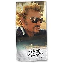 Johnny Hallyday Drap de bain - Serviette de plage Collector Edition 2018 100% Coton 75x150cm