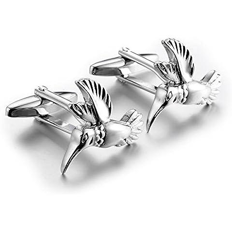 FORESTEEL Gioielli Acciaio inossidabile indietro proiettile Toggle chiusura gemelli per gli uomini Matrimoni, Regali di compleanno - uccello