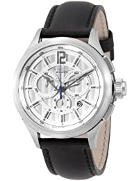 Breil Men's 939 Swiss-made Chronograph Watch BW0531 with 44mm Stainless Steel Case, Silver Dial, and Black Leather Strap