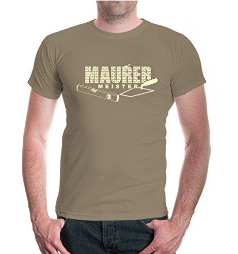buXsbaum® T-Shirt Maurermeister Khaki-Beige
