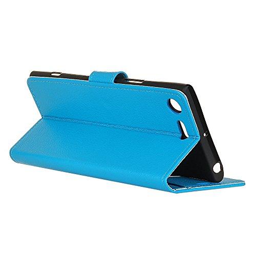 Klassische Litchi Texture Premium Leder Tasche Bookstyle Folio Stand Case mit Geldbörse Beutel Funktion Card Slots für Sony Xperia XZ1 ( Color : Purple ) Blue