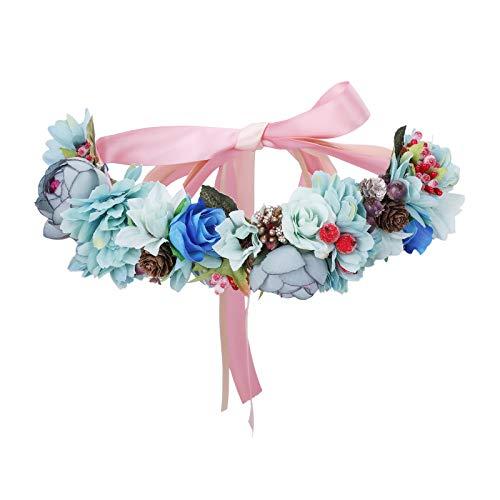 AWAYTR Blumenkrone Blumen stirnband Haarkranz - Hochzeit Girlande Krone Exquisit Tannenzapfen Beere Kranz Boho Festival Blumen Stirnband (Blau)