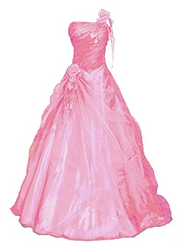 Romantic-Fashion Damen Ballkleid Abendkleid Brautkleid Lang Modell E233 A-Linie Blüten Perlen Pailletten DE Rosa Größe 36