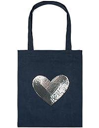 8cbb4be4eb styleBREAKER borsa shopping con applique di paillettes e cuori, borsa da  spalla, tela,