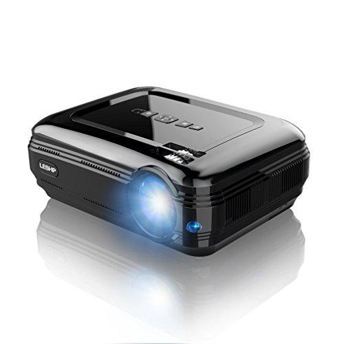 Proyector , LESHP HD 1080P Proyectores 3200 LM Portátil Proyectores LED Projector LCD Cine Casero 1280×1920 Max 3000:1 Apoyo HDMI USB VGA AV para TV Xbox Juego Hogar Smartphone Con Cable HMDI-Negr