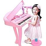 Likeluk Klavier Keyboard Spielzeug 37 Tasten Kinder Klavier mit Mikrofon Elektronische Musik Instrumente für Kinder Mädchen (Rosa)