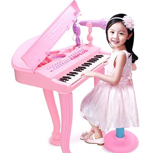 Foxom Kinder Piano mit Mikrofon und Hocker | 37 Tasten Kinderpiano Keyboard | Licht- und...